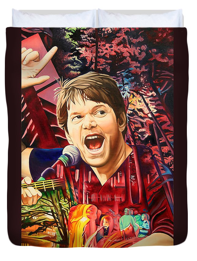 The String Cheese Incident Duvet Cover featuring the painting Kyle Hollingsworth At Hornin'gs Hideout by Joshua Morton