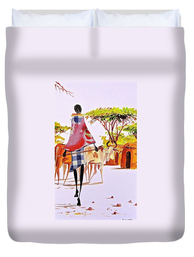 African Paintings Duvet Cover featuring the painting L 105 by Albert Lizah