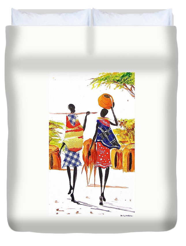 African Paintings Duvet Cover featuring the painting L 106 by Albert Lizah