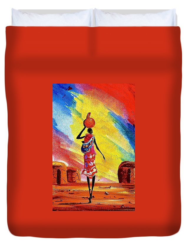 African Paintings Duvet Cover featuring the painting L 136 by Albert Lizah