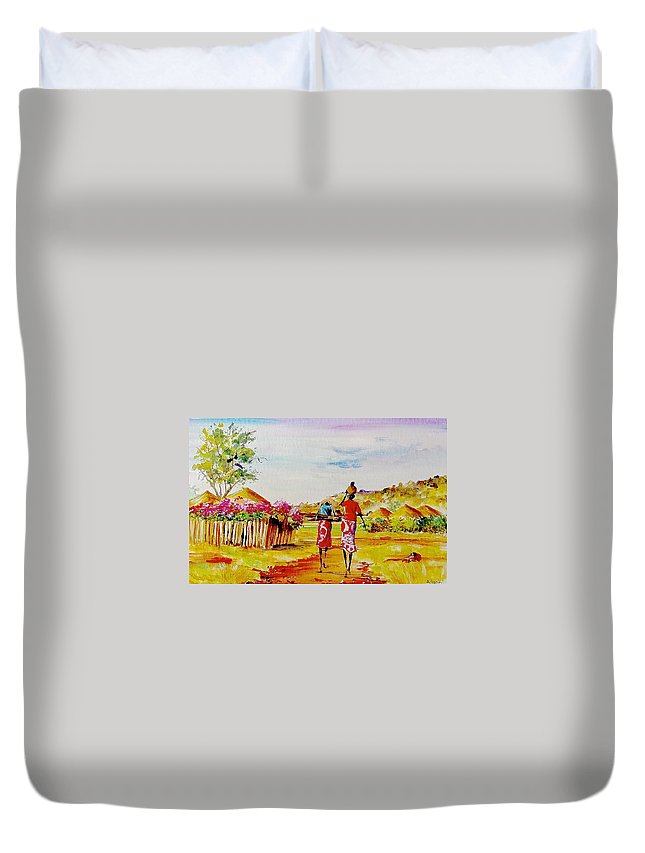 African Paintings Duvet Cover featuring the painting L 140 by Albert Lizah