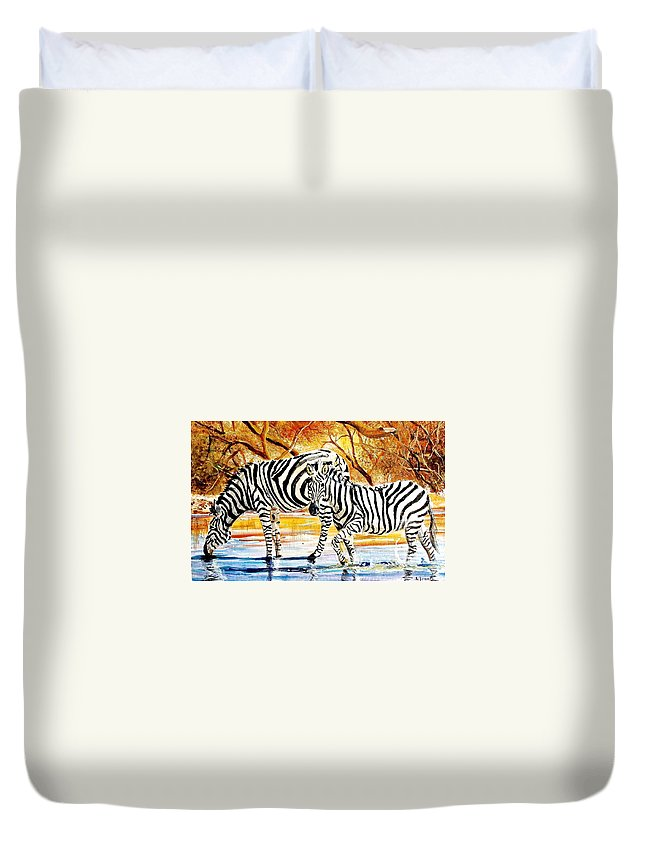 African Paintings Duvet Cover featuring the painting L 155 by Albert Lizah
