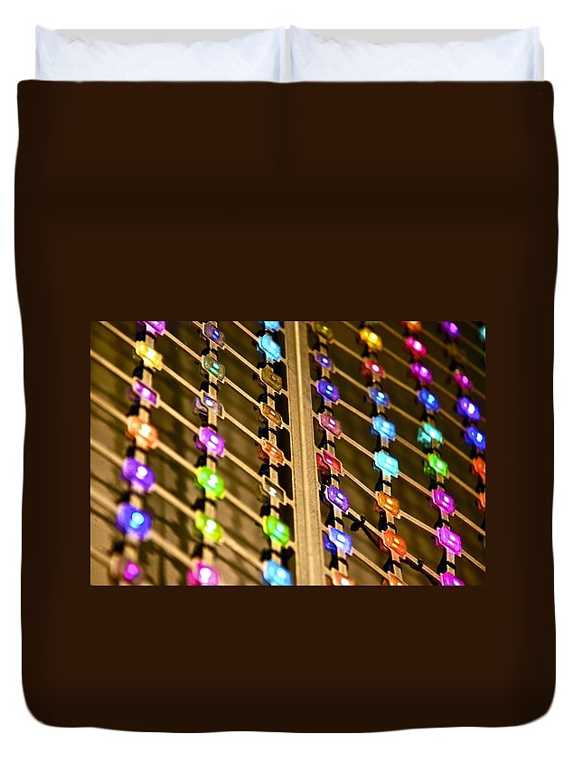 L E D Duvet Cover featuring the photograph L E D Array 3 by Charlie Brock
