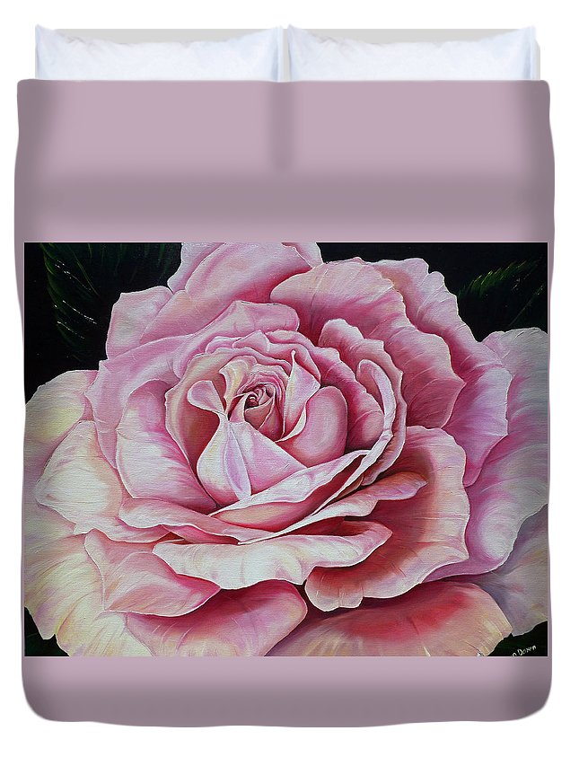 Rose Painting Pink Rose Painting  Floral Painting Flower Painting Botanical Painting Greeting Card Painting Duvet Cover featuring the painting La Bella Rosa by Karin Dawn Kelshall- Best