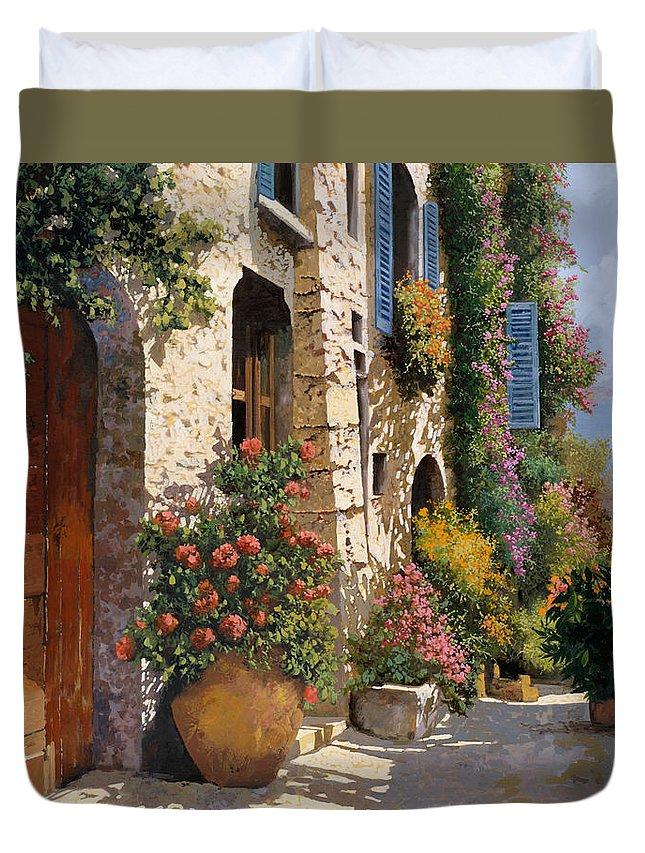 Street Scene Duvet Cover featuring the painting La Strada Piu' Bella by Guido Borelli