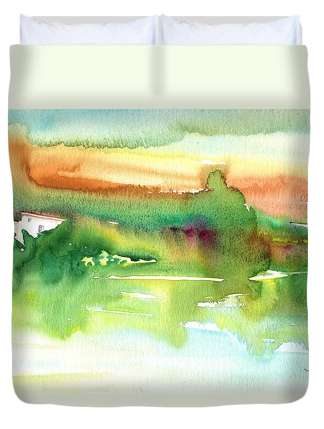 Travel Duvet Cover featuring the painting La Camargue 14 by Miki De Goodaboom