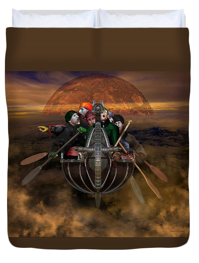Legend Duvet Cover featuring the digital art La Chasse-galerie 4 by Richard Fortier