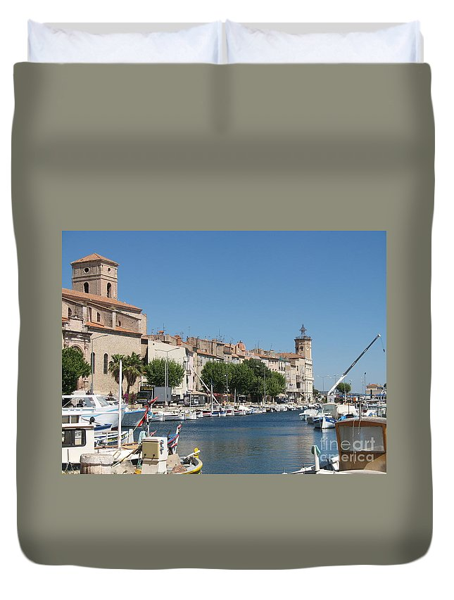 Habor Duvet Cover featuring the photograph La Ciotat Harbor by Christiane Schulze Art And Photography
