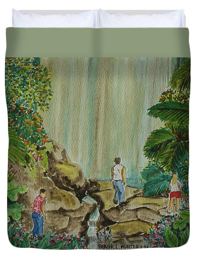 Coco Falls El Unque Rain Forest Puerto Rico Waterfall Rocks Foliage Rocks Duvet Cover featuring the painting La Coco Falls El Yunque Rain Forest Puerto Rico by Frank Hunter