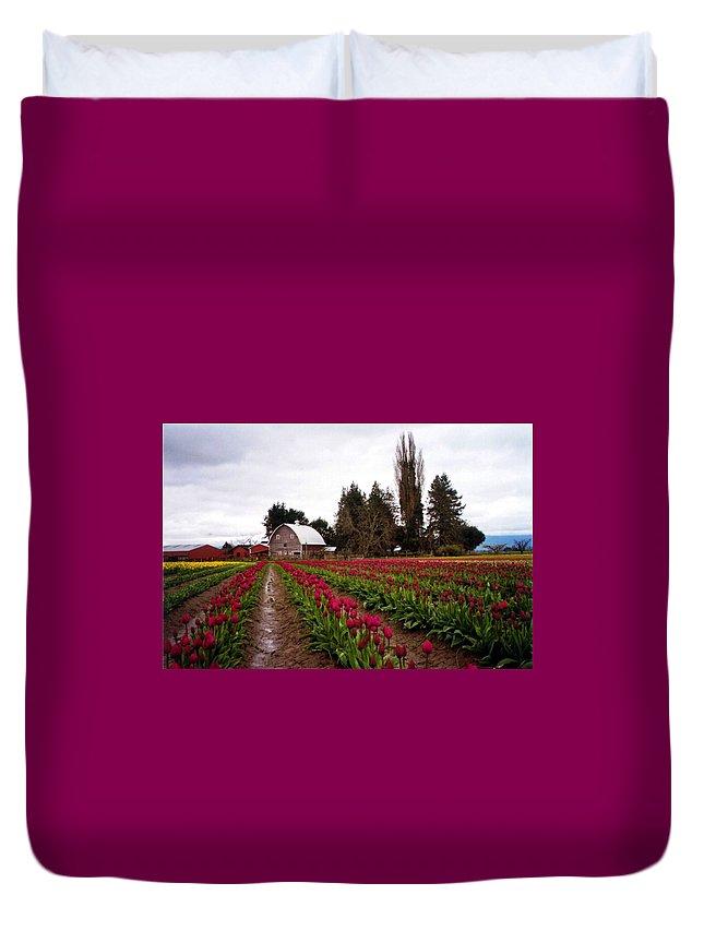 Tulip Fields Duvet Cover featuring the photograph La Conner by Loren McNamara