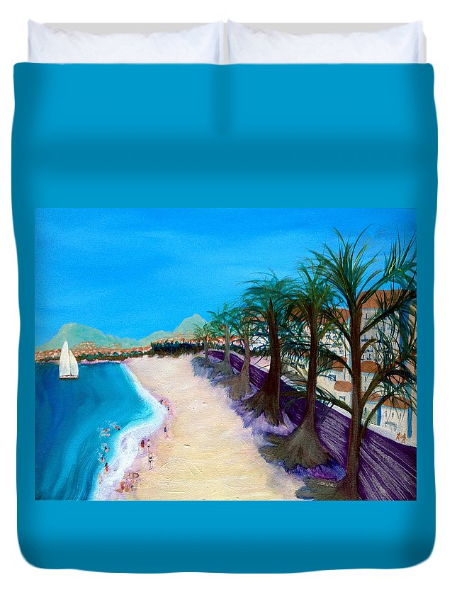 Cannes Duvet Cover featuring the painting La Croissette by Maura Satchell