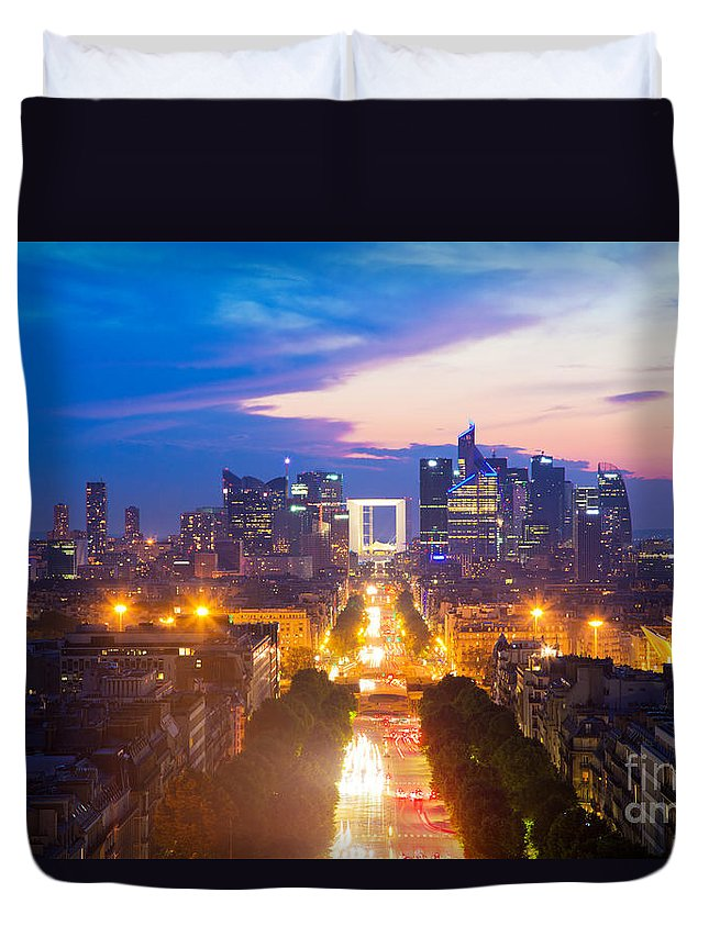 Paris Duvet Cover featuring the photograph La Defense And Champs Elysees At Sunset In Paris France by Michal Bednarek