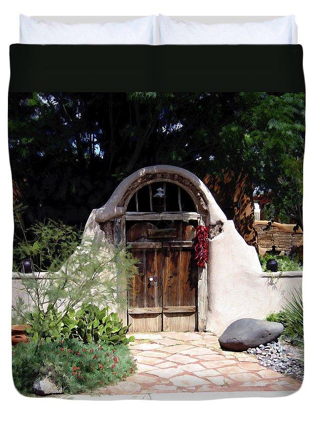 Doors Duvet Cover featuring the photograph La Entrada A La Casa Vieja De Mesilla by Kurt Van Wagner