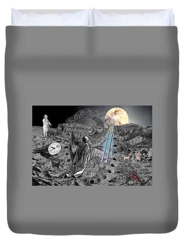 Tarot Duvet Cover featuring the digital art La Luna by Lisa Yount