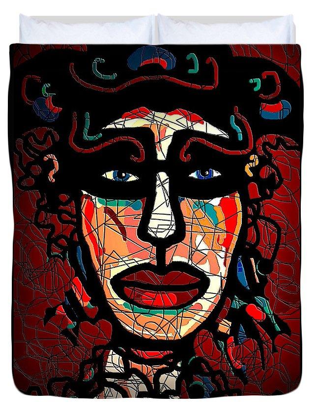La Matadora Duvet Cover featuring the mixed media La Matadora by Natalie Holland
