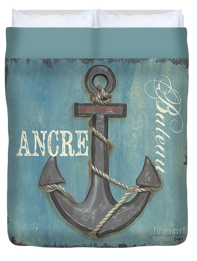 Coastal Duvet Cover featuring the painting La Mer Ancre by Debbie DeWitt