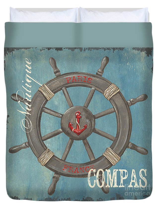 Coastal Duvet Cover featuring the painting La Mer Compas by Debbie DeWitt