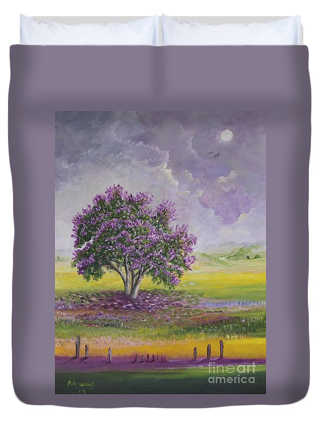 Trees Paintings Duvet Cover featuring the painting La Reina De Las Flores by Alicia Maury