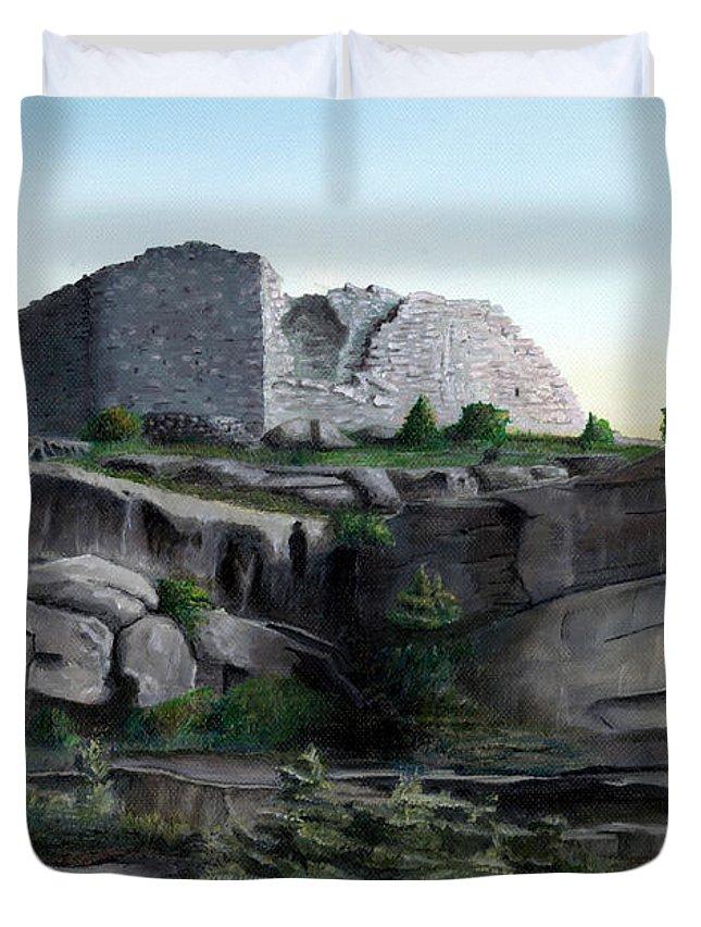 Castle Duvet Cover featuring the painting La Rocca De Monte Calvo by Albert Puskaric