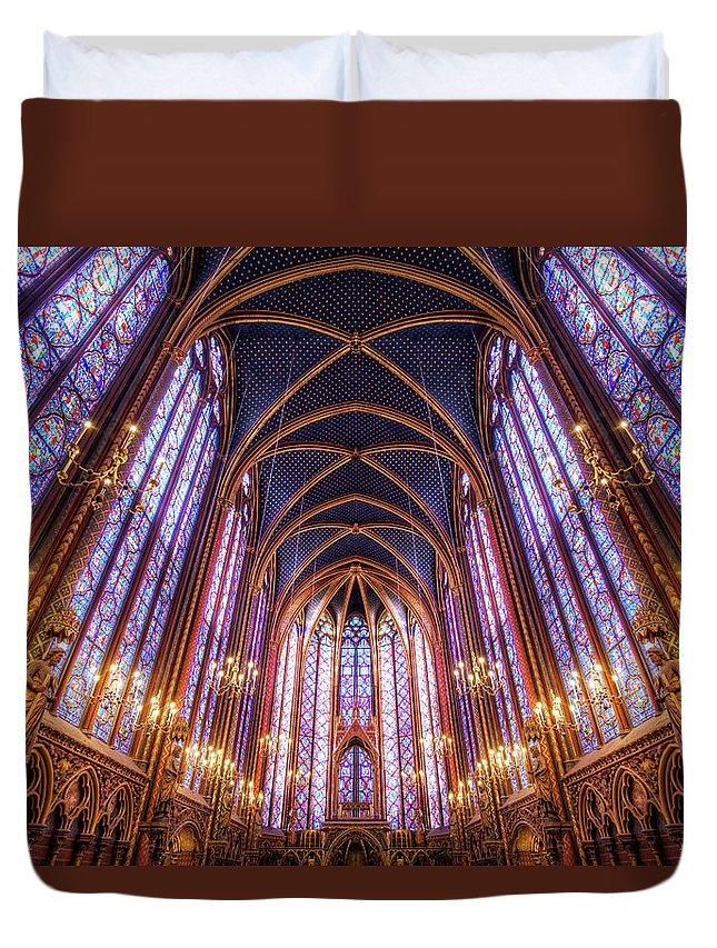 Arch Duvet Cover featuring the photograph La Sainte-chapelle Upper Chapel, Paris by Joe Daniel Price