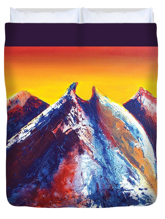 Mountains Duvet Cover featuring the painting La Silla Energy by Kandyce Waltensperger