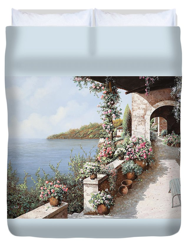 Coastal Duvet Cover featuring the painting La Terrazza by Guido Borelli