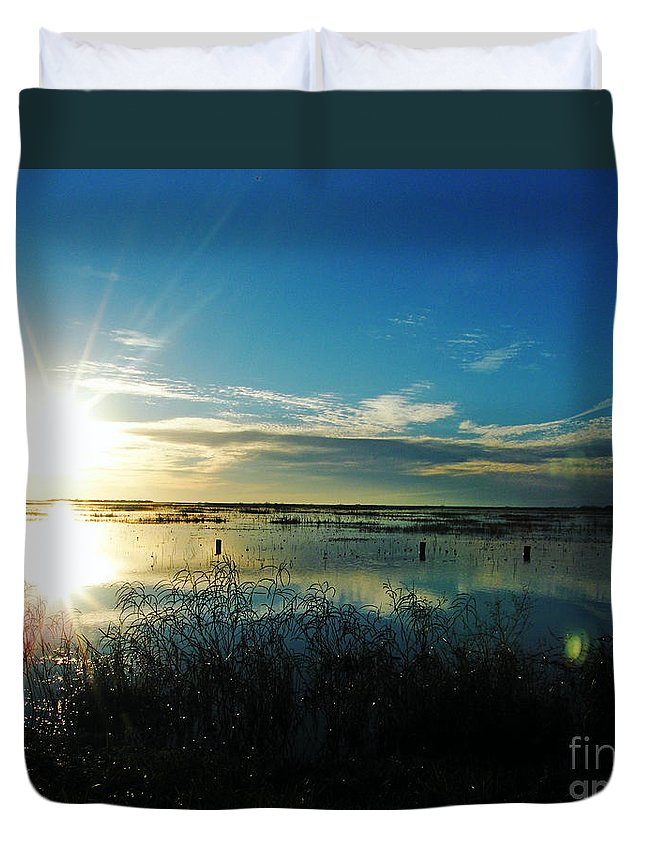 Lacassine Duvet Cover featuring the photograph Lacassine Afternoon Sparkle by Lizi Beard-Ward