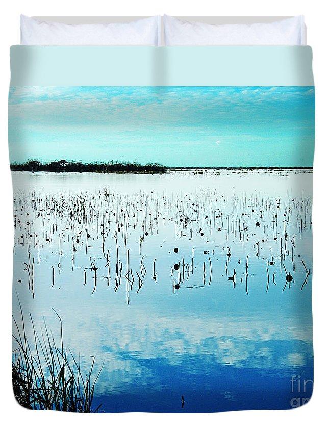 Lacassine Duvet Cover featuring the photograph Lacassine Nwr Blue Pool by Lizi Beard-Ward