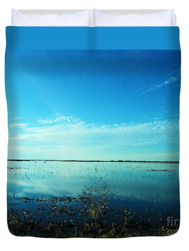 Refuge Duvet Cover featuring the photograph Lacassine Nwr Pool Blue And Green by Lizi Beard-Ward