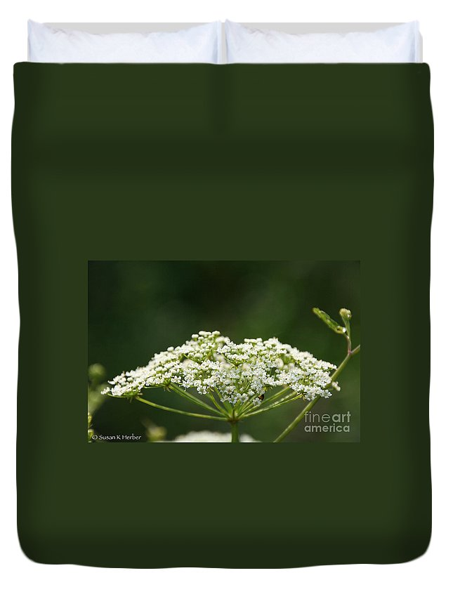 Flower Duvet Cover featuring the photograph Lacy White by Susan Herber