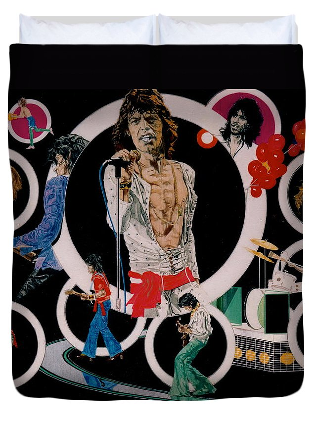 Mick Jagger;keith Richards;brian Jones;charlie Watts;bill Wyman;rock & Roll;music;guitars;water Duvet Cover featuring the drawing Ladies And Gentlemen - The Rolling Stones by Sean Connolly
