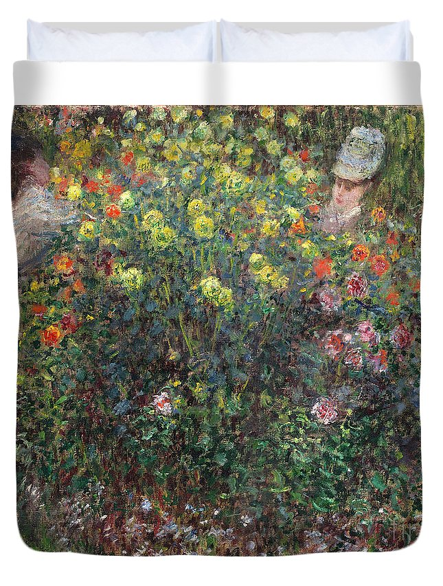 Claude Duvet Cover featuring the painting Ladies In Flowers by Claude Monet