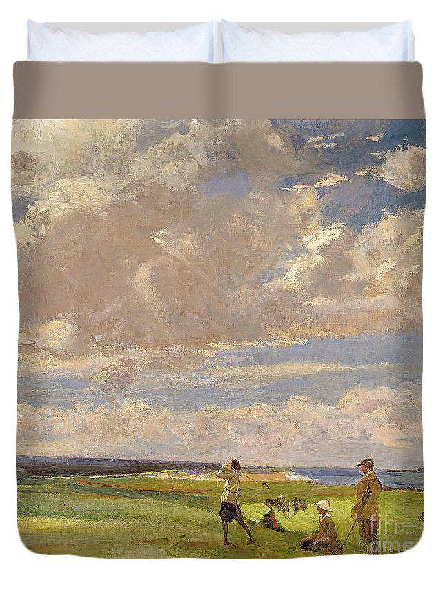American; Golfing; Links; Golfer; Course; Scottish; Landscape; Clouds; Glasgow Boys; Drive Duvet Cover featuring the painting Lady Astor Playing Golf At North Berwick by Sir John Lavery