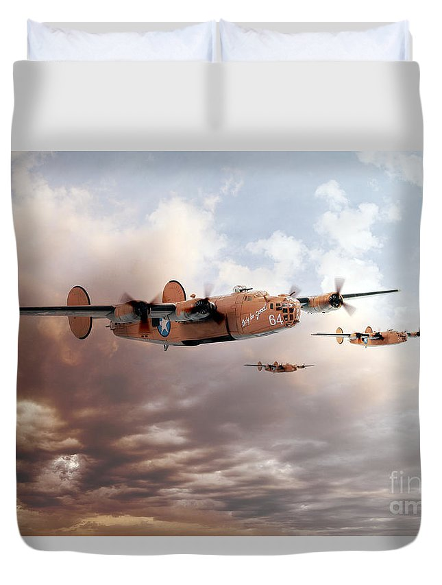 B24 Liberator Duvet Cover featuring the digital art Lady Be Good by J Biggadike