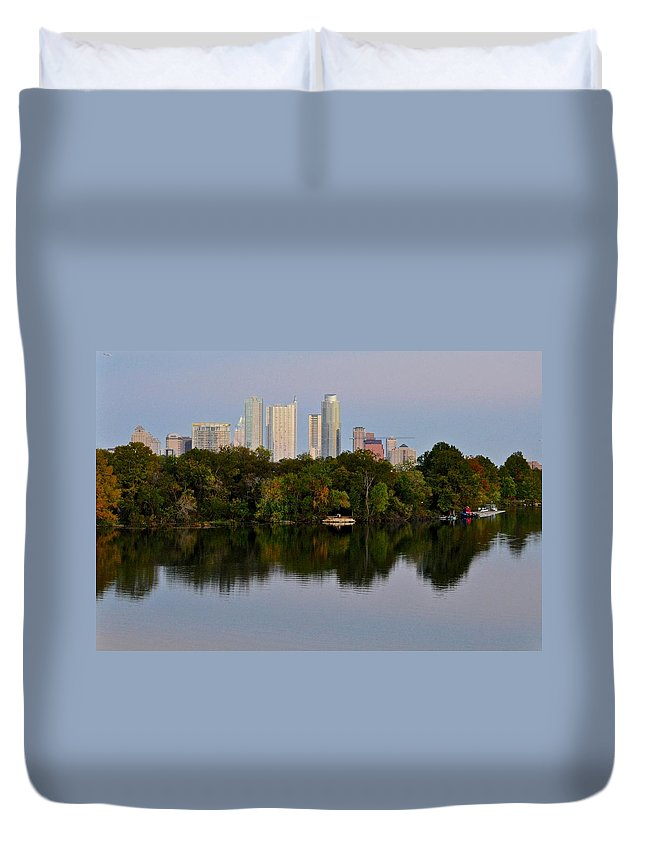 Lady Bird Lake Duvet Cover featuring the photograph Lady Bird Lake In Austin Texas by Kristina Deane
