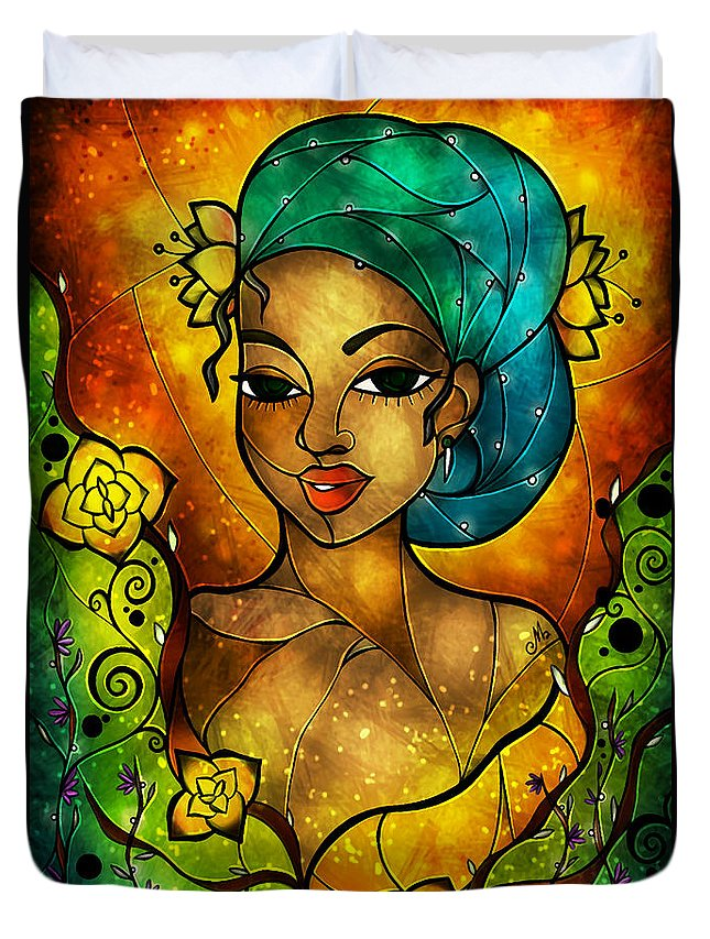 Flowers Duvet Cover featuring the mixed media Lady Creole by Mandie Manzano