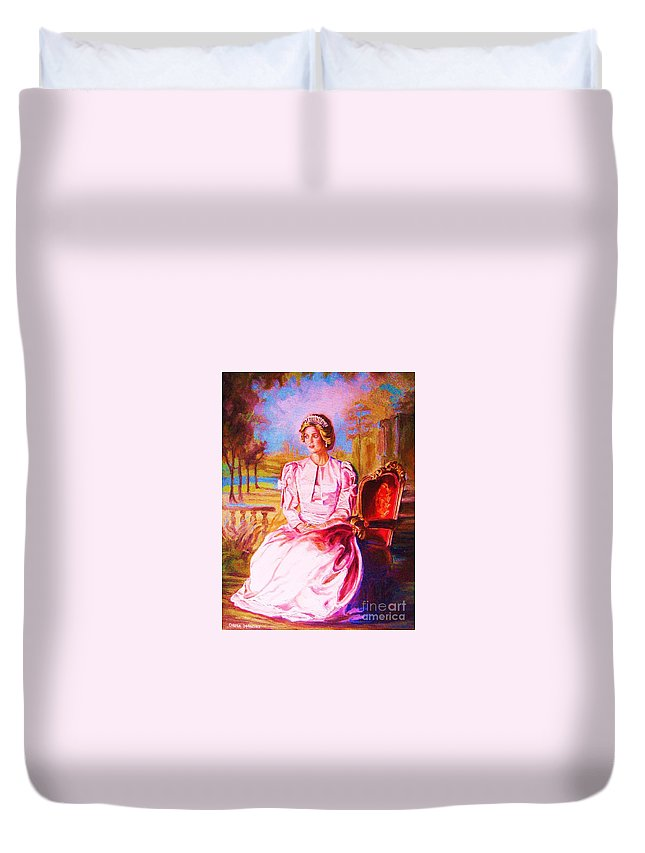 Princess Diana Duvet Cover featuring the painting Lady Diana Our Princess by Carole Spandau