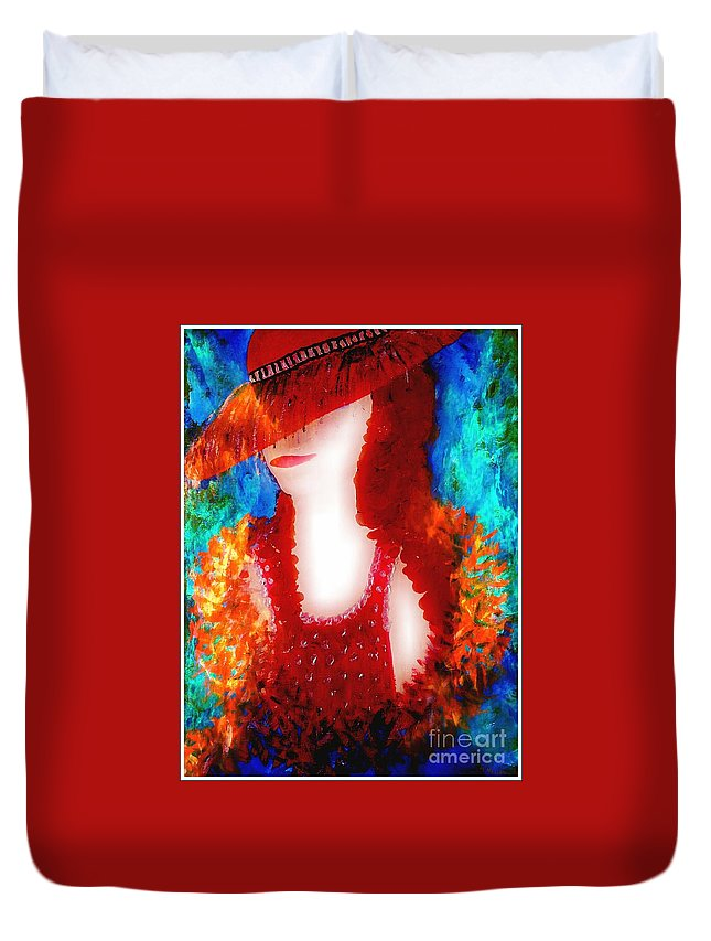 Lady Duvet Cover featuring the painting Lady In Red 2 by Lady Ex