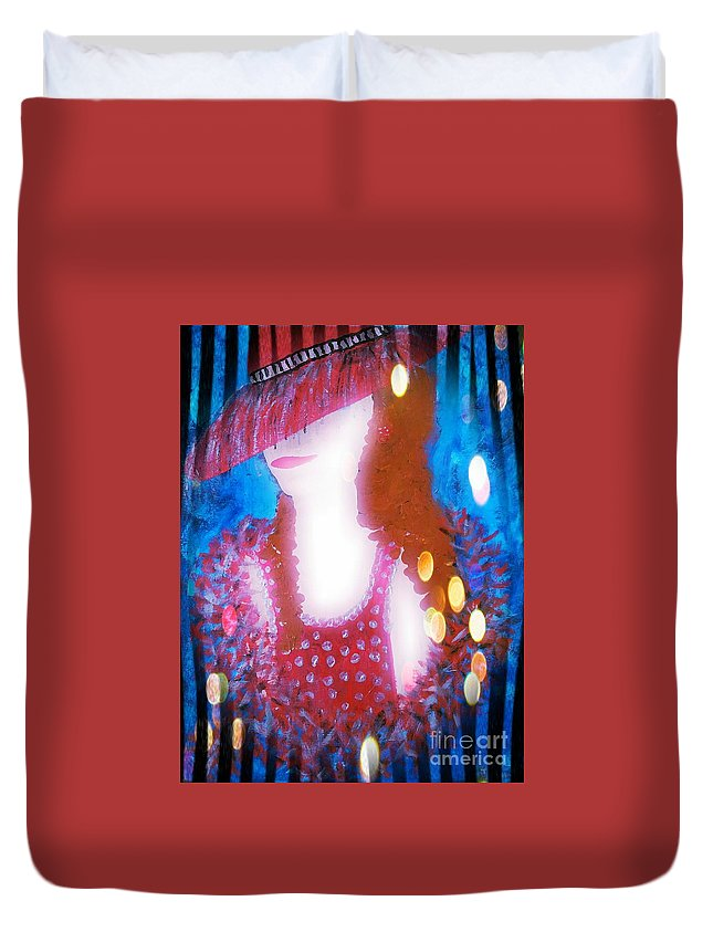 Lady Duvet Cover featuring the painting Lady In Red 3 by Lady Ex