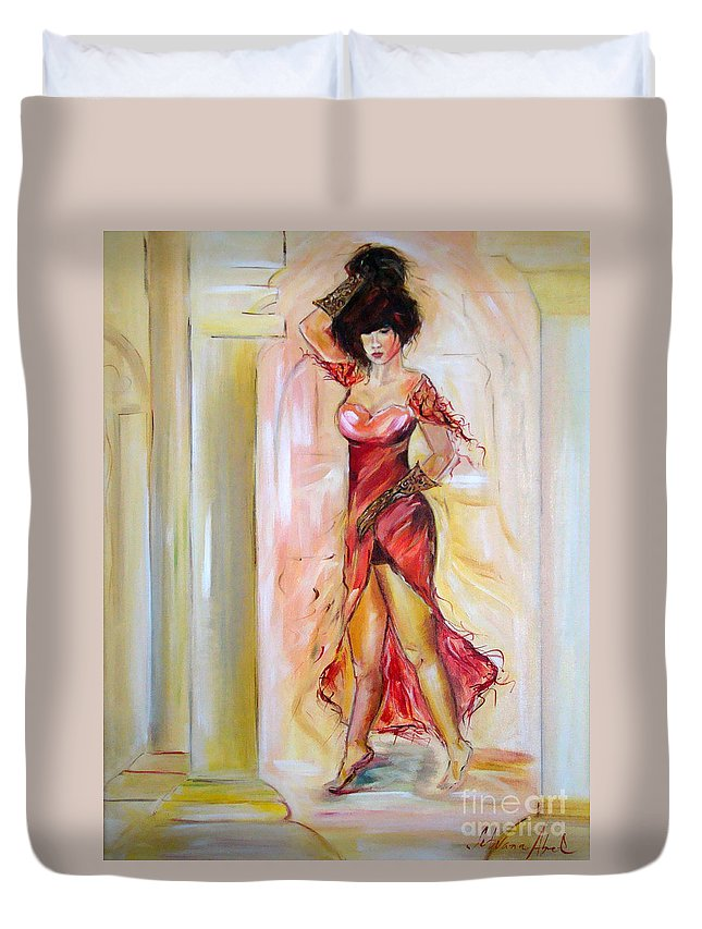 Contemporary Art Duvet Cover featuring the painting Lady In Red by Silvana Abel