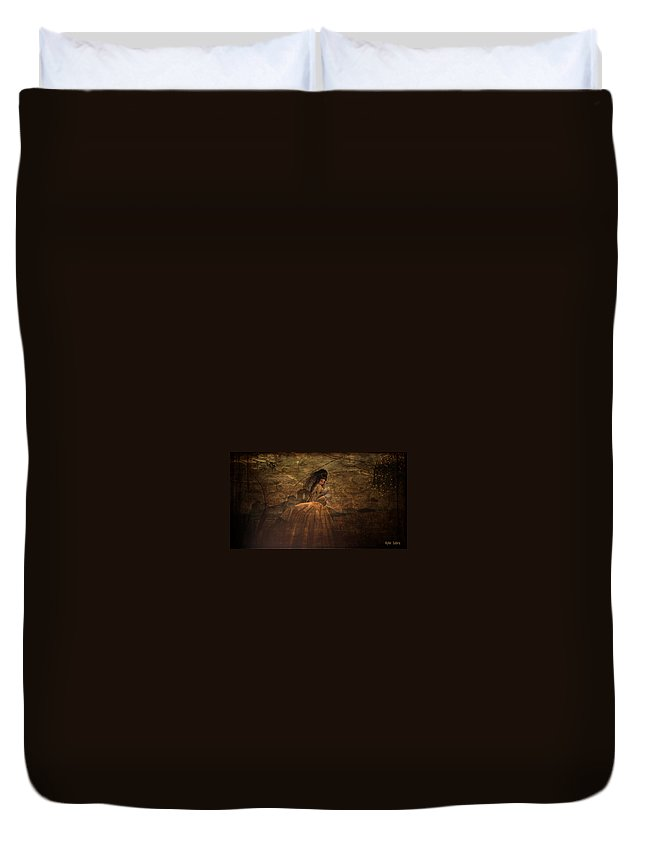 Renaissance Duvet Cover featuring the digital art Lady In Waiting by Kylie Sabra