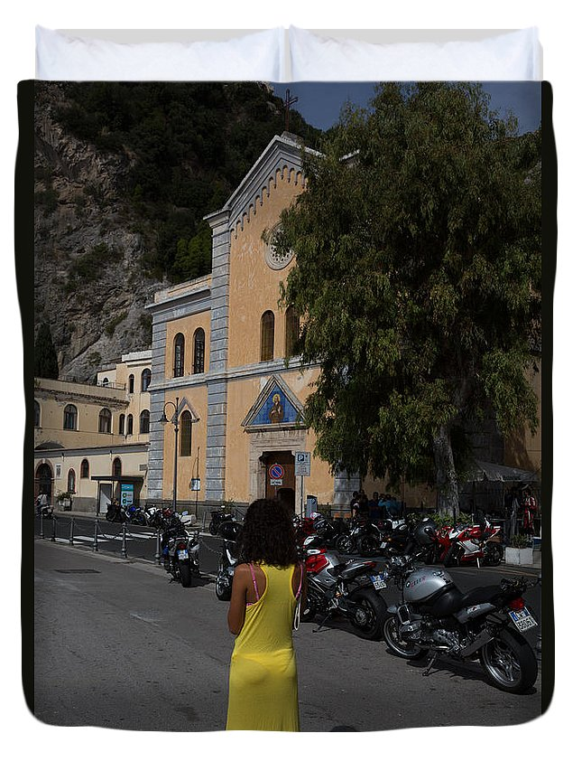Amalfi Coast Duvet Cover featuring the photograph Lady In Yellow By The Church Of San Francesco Maiori Italy by Dan Hartford