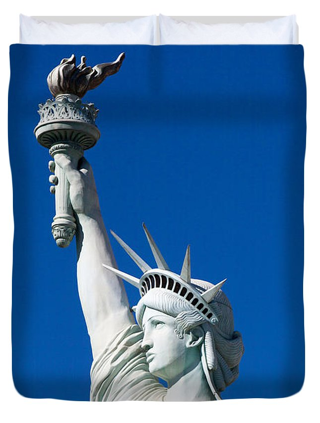 Art Block Collections Duvet Cover featuring the photograph Lady Liberty by Art Block Collections