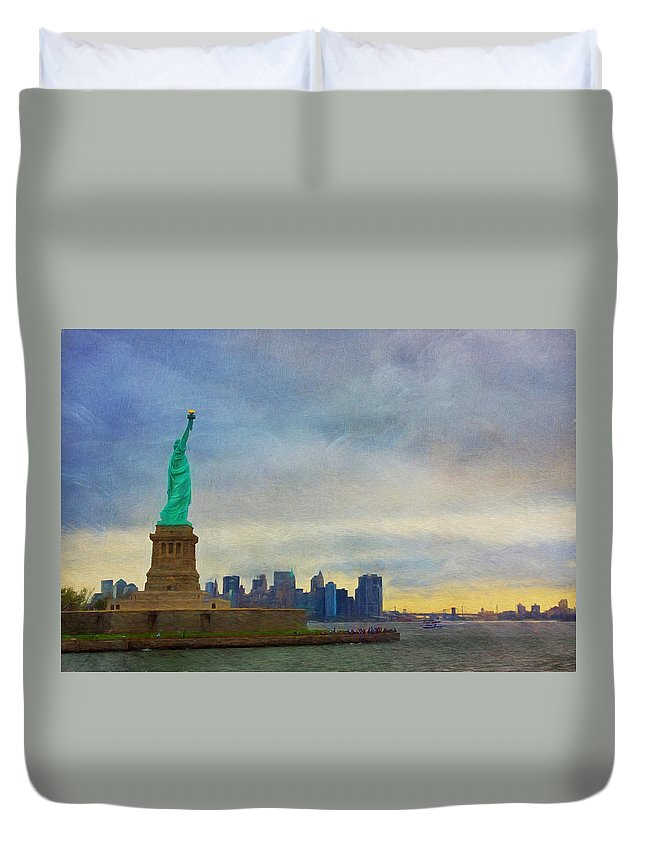 Liberty Duvet Cover featuring the photograph Lady Liberty by Kim Hojnacki