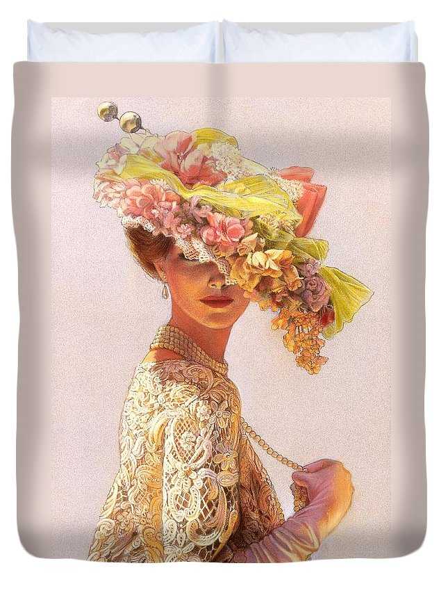 Portrait Duvet Cover featuring the painting Lady Victoria Victorian Elegance by Sue Halstenberg
