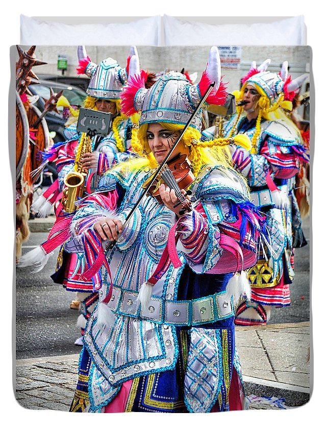 Mummer Duvet Cover featuring the photograph Lady Viking Mummer by Alice Gipson