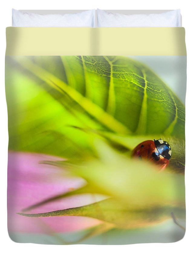 Red Duvet Cover featuring the photograph Ladybug IIi by Marco Oliveira