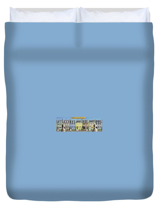 Landscape Duvet Cover featuring the painting Lafayette Square by Mr Dill