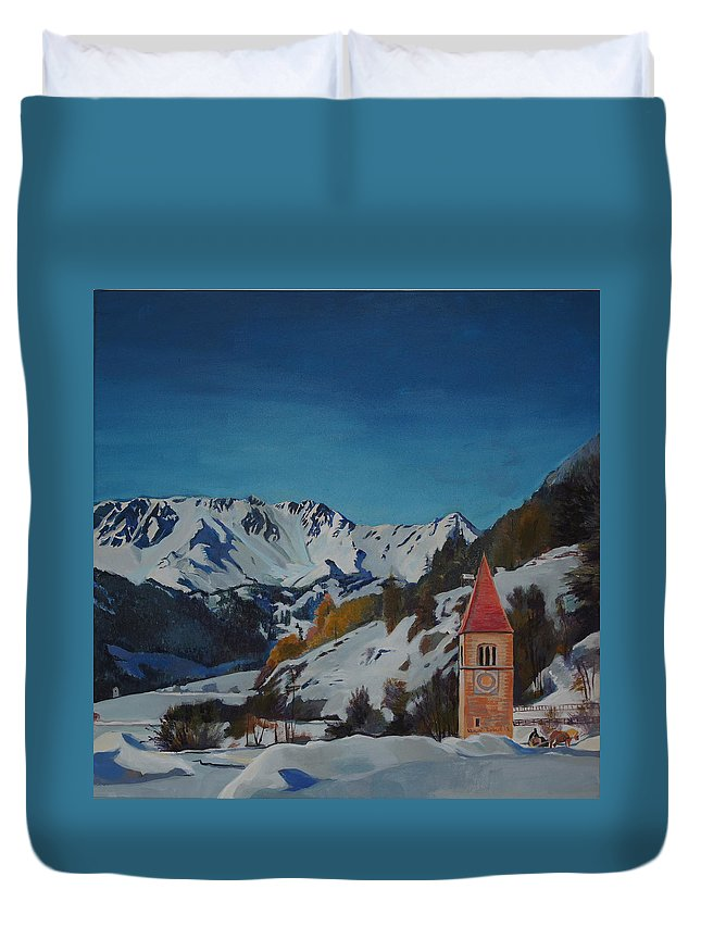 Landscape Duvet Cover featuring the painting Lago Di Resia by Robert Keseru