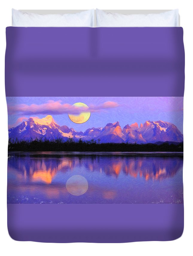 Lago Pehoe In Torres Del Paine Chile Crayons Sunset Duvet Cover featuring the painting Lago Pehoe In Torres Del Paine Chile Crayons by MotionAge Designs